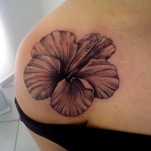Black Hibiscus Tattoo