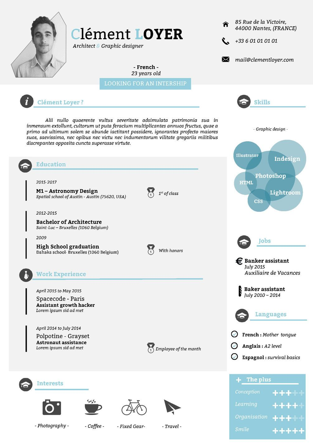2016 Word Graphic Blue Resume Word template, Resume