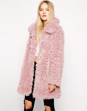We just want to cuddle up with this dusty pink faux fur coat. Pink ...