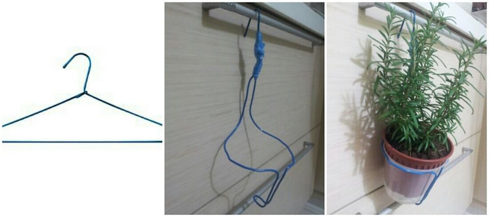 Diy Pot Holder Using Wire Clothes Hanger Diy Plant Hanger Diy Plants Plant Hanger