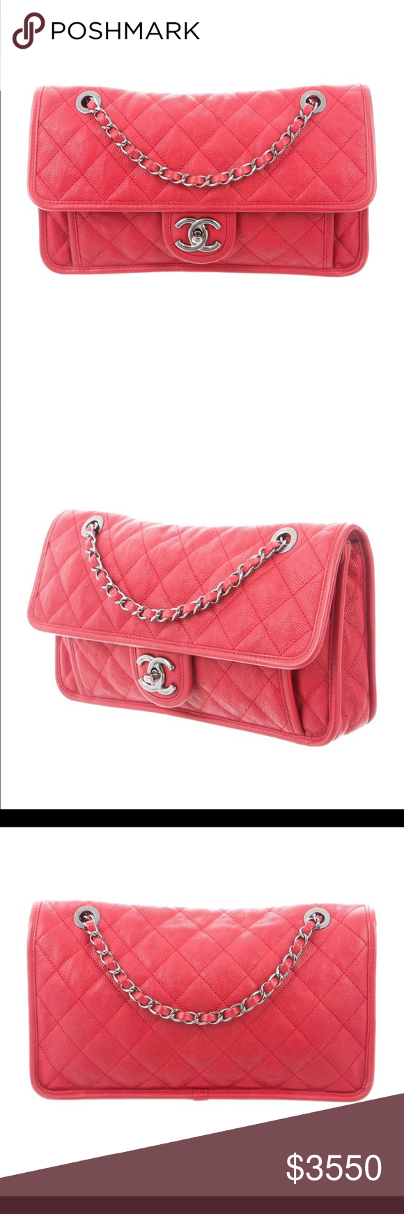 959d812530a208 CHANEL Red Caviar Leather Medium Mademoiselle Bag AUTHENTIC! - Red quilted caviar  leather Chanel Medium