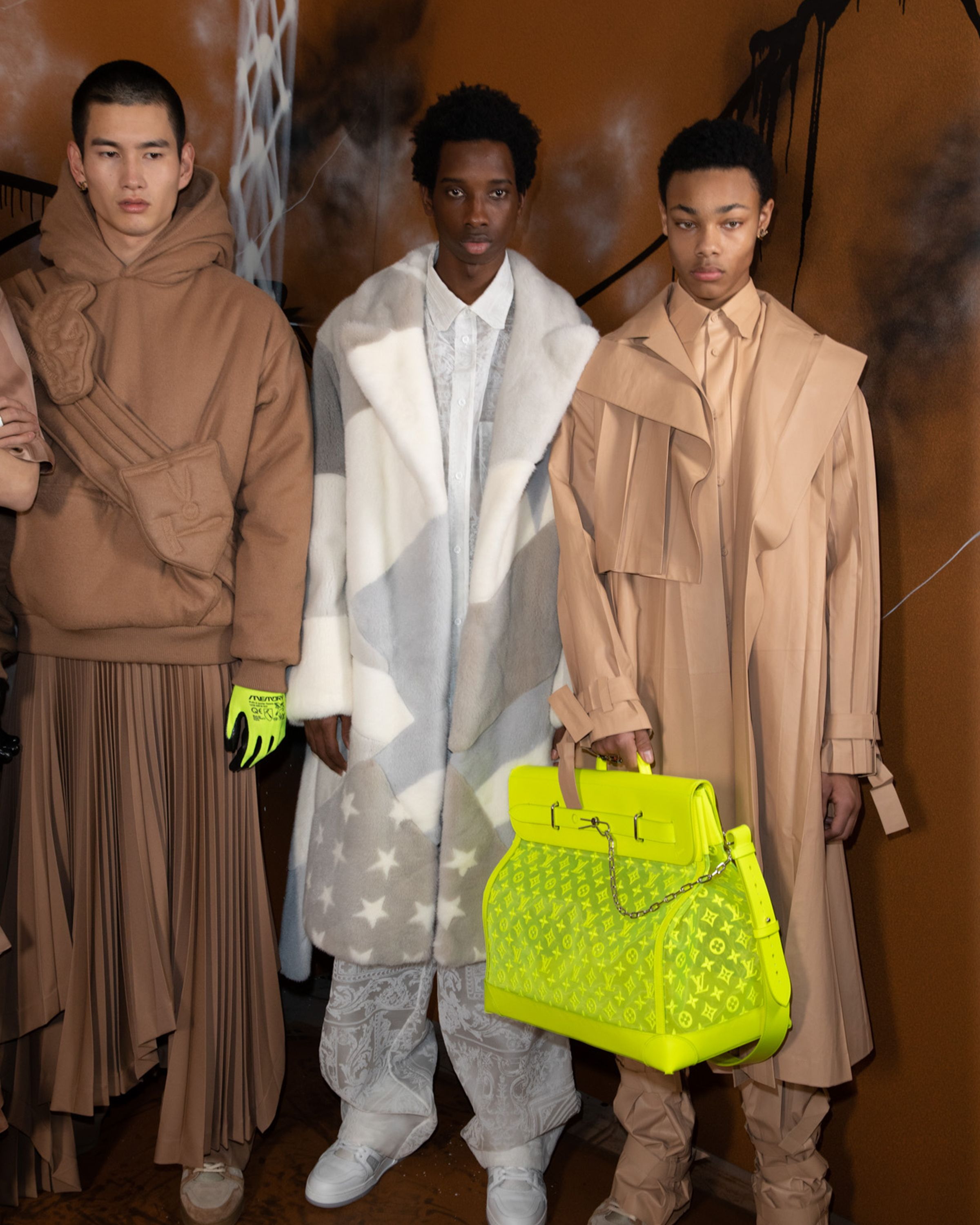 Backstage At The Louis Vuitton Men S Fall Winter 2019 Fashion Show By Virgil Abloh Presented In Paris France Louis Vuitton Men Lv Men Neon Fashion