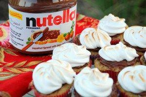 كب كيك النوتيلا و الموز و حلوى المارشميللو Nutella Nutella Nutella Recipes Nutella Cupcakes