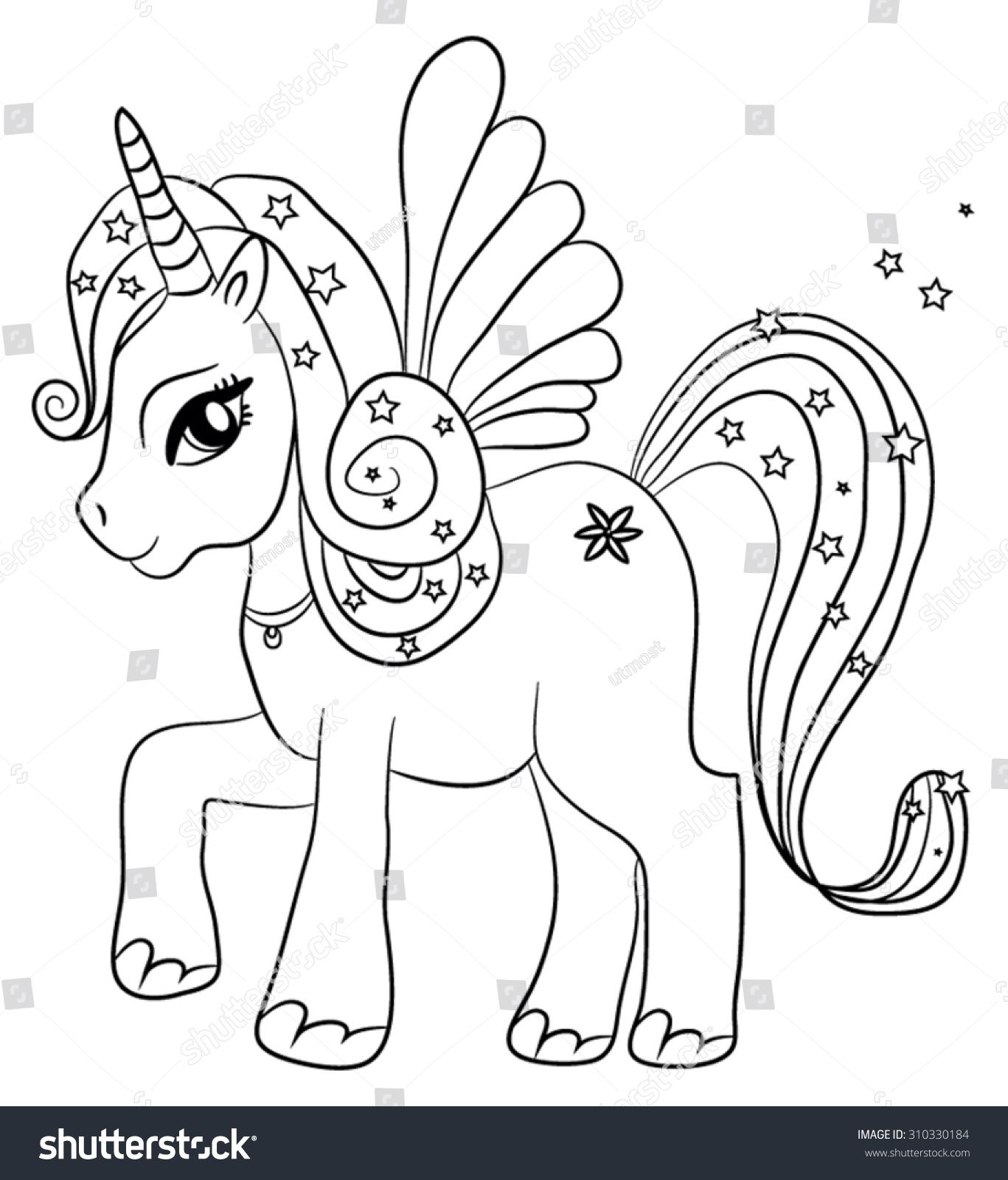 Cute cartoon fairytale unicorn - coloring page for kids ...