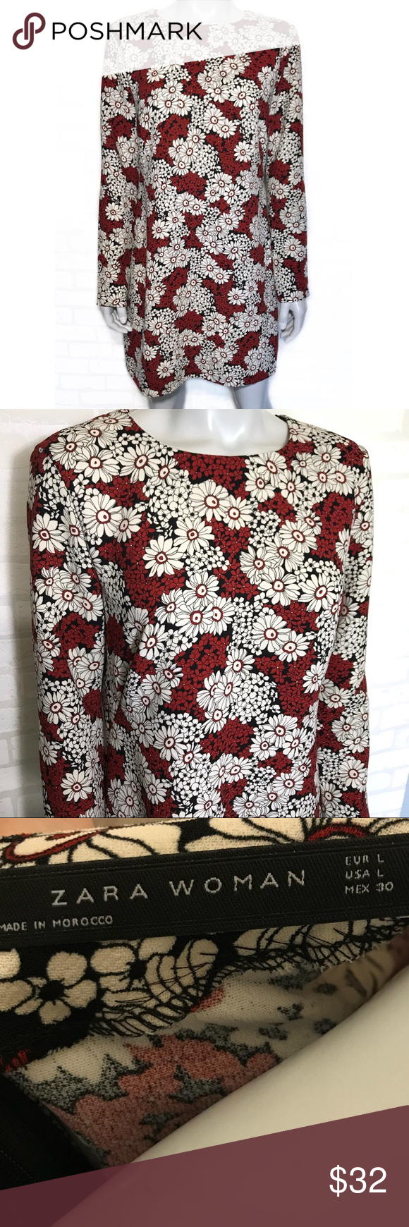 Zara black white and red floral dress