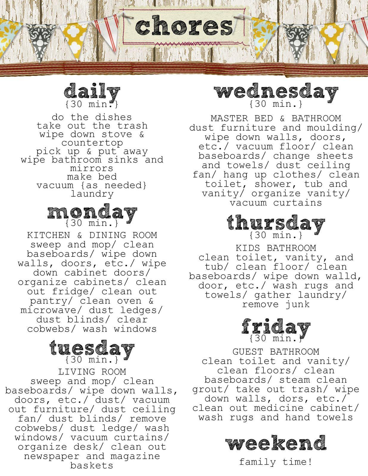 weekly chores list printable