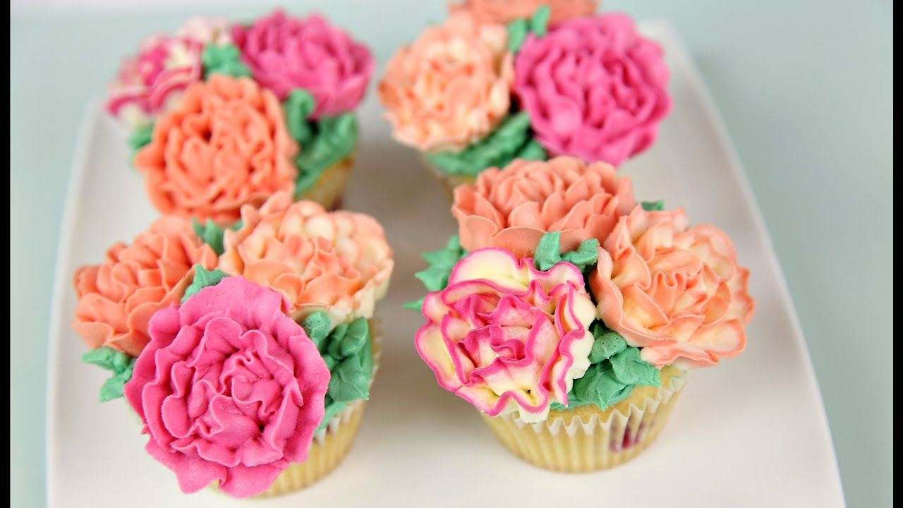Carnation Flower Buttercream Cupcakes Cake Style Cake Decorating Videos Butter Cream Fashion Cakes