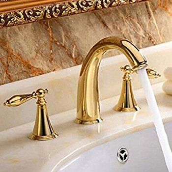 Senlesen Gold Finish Widespread Two Handles Bathroom Sink Faucet Amazon Com Bathroom Sink Faucets Sink Faucets Sink