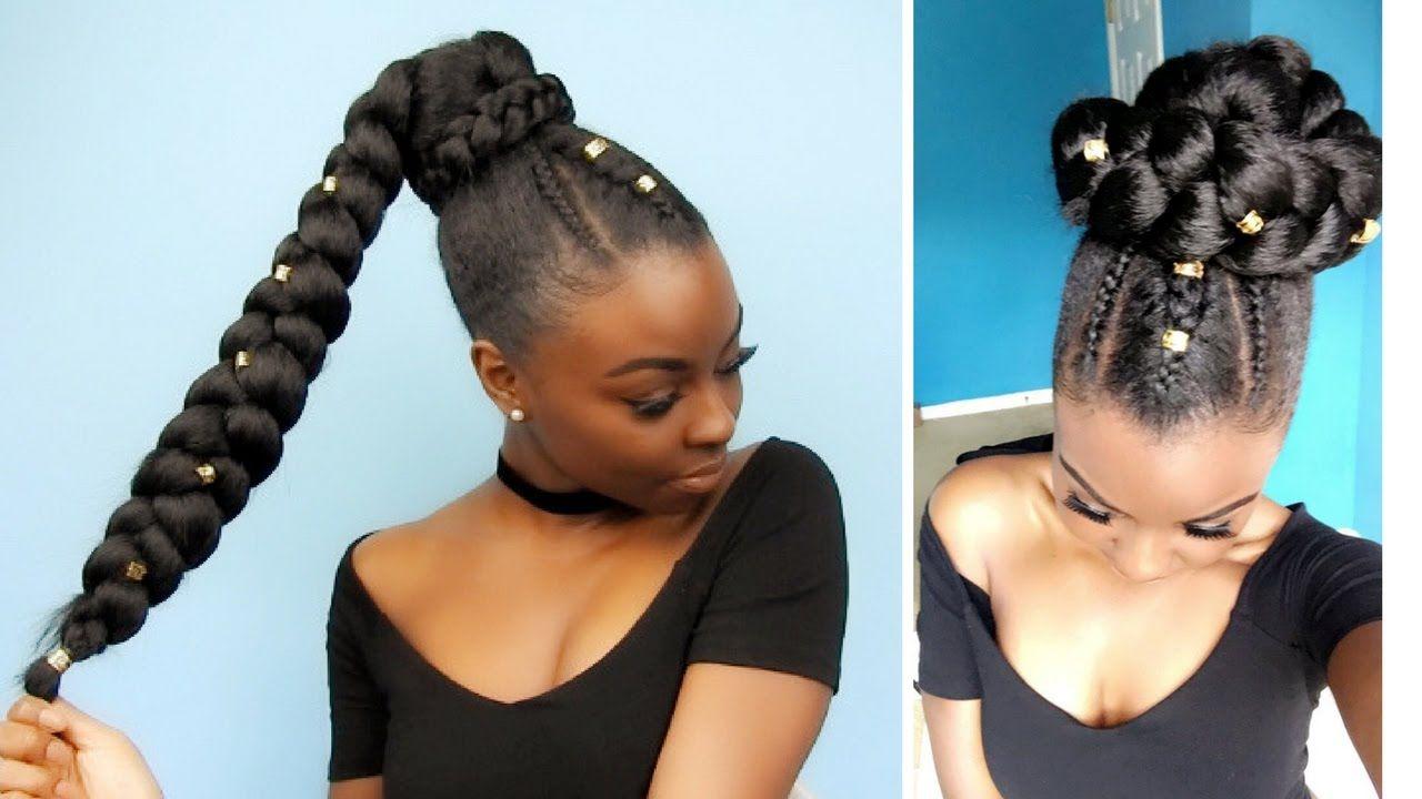 Goddess Braid Ponytail And Makeup Look Using Jumbo Braiding Hair Extensions Goddess Braid Ponytail Braid In Hair Extensions Braided Hairstyles