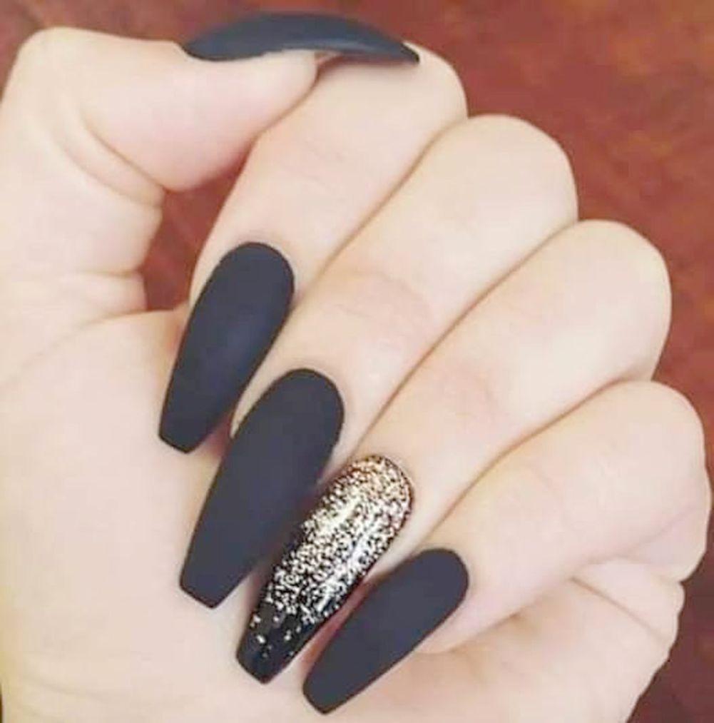 Jindin Black Matte French Fake Nails Pre Design Long Fake Nail Full Cover For Women Salon Home Manicure Art 24 Pcs Set Gold Nails Coffin Nails Designs Black Gold Nails