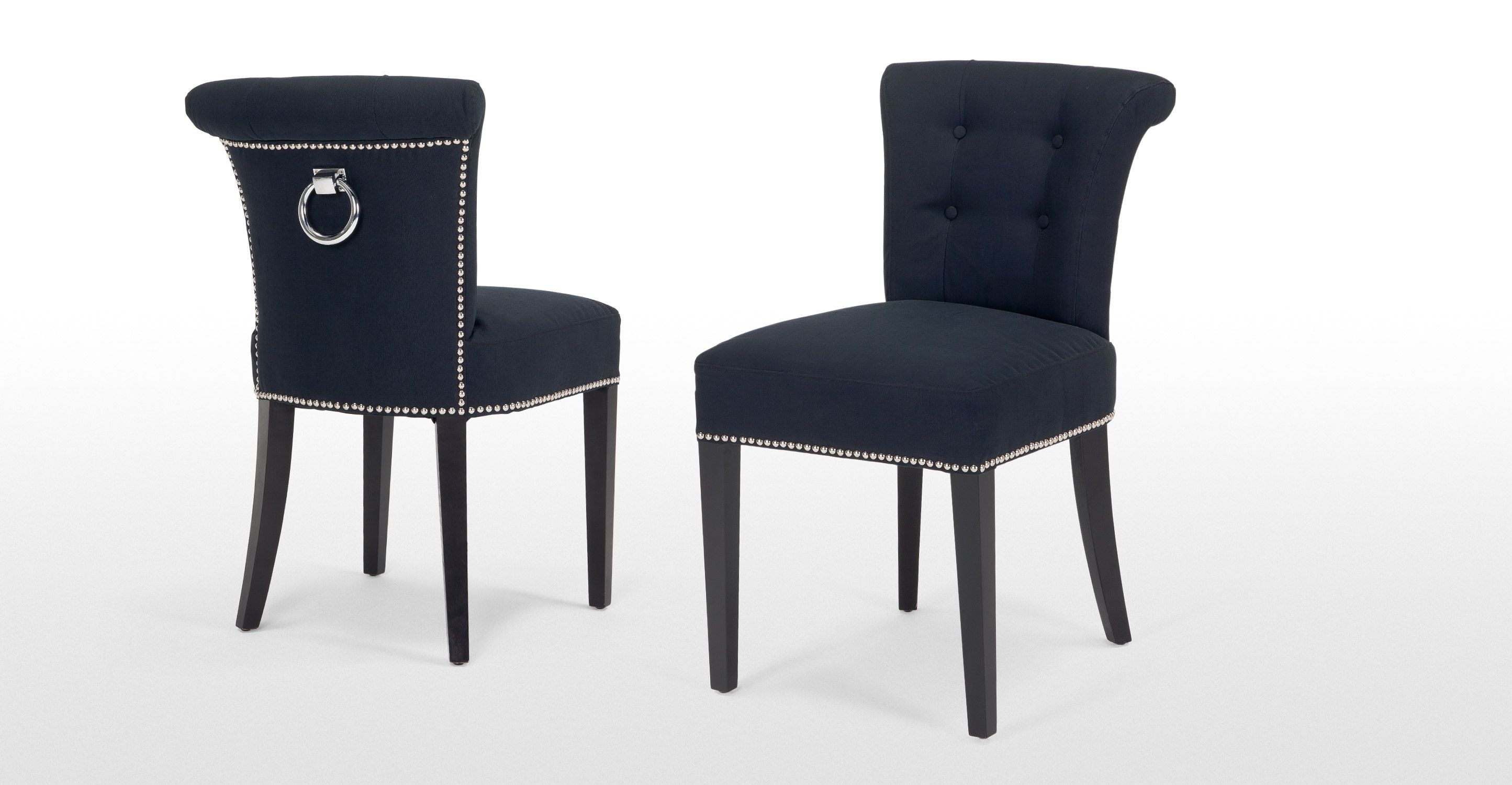 Contemporary dining room with navy blue chairs - Add Some Modern Opulence To Your Dining Set Up With The 2 X Emile Dining Chair In Deep Blue