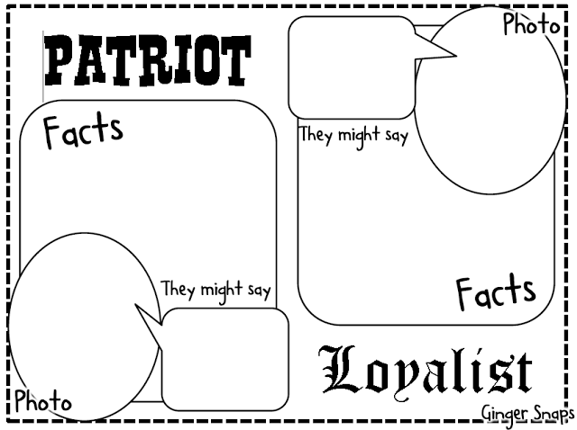 FREE Patriots and Loyalists graphic organizer for the
