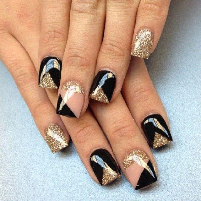 Instagram photo by thenailboss #nail #nails #nailart. Black Gold ... - Instagram Photo By Thenailboss #nail #nails #nailart Nails