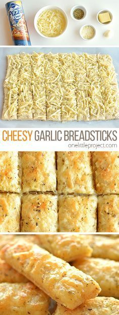 Homemade Cheesy Garlic Breadsticks Recipe - One Little Project