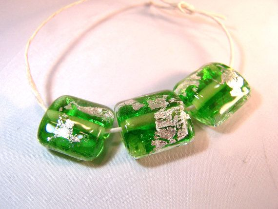 Lime Green with Silver Foil  Nugget Shaped Beads  by VedasBeads, $18.00
