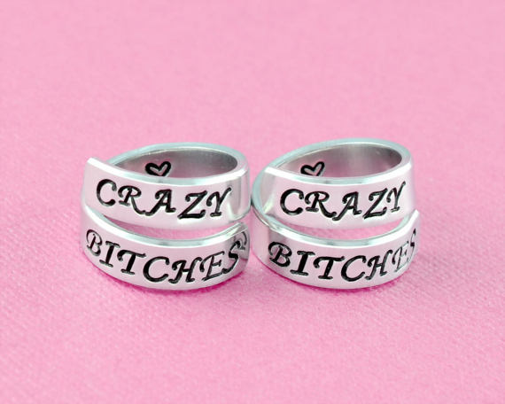 3553cda498cc4 CRAZY BITCHES - Hand Stamped Spiral Wrap Rings Set of 2, Soul ...