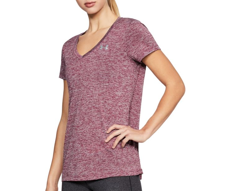 Under Armour Women S Twisted Tech V Neck Shirt In Black Current