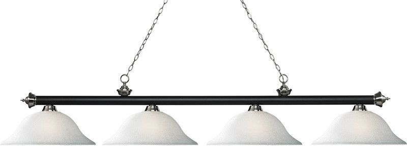 Z-Lite 200-4MB+BN-WL16 4 Light Island/Billiard Light Riviera Matte Black & Brushed Nickel Collection White Linen Finish