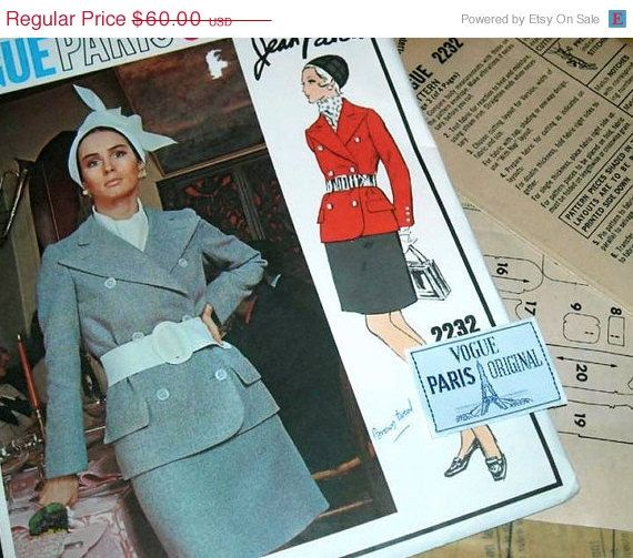 SALE:) Stunning Vintage VOGUE Paris Original PATOU 2 piece Suit Pattern 2232 size 8 with Label Uncut