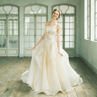 NOVARESE(ノバレーゼ)○ノバレーゼグループ【大人可愛いシャンパンゴールド】ヴィンテージ感が · 結婚式のdressses面白い人生ドレス