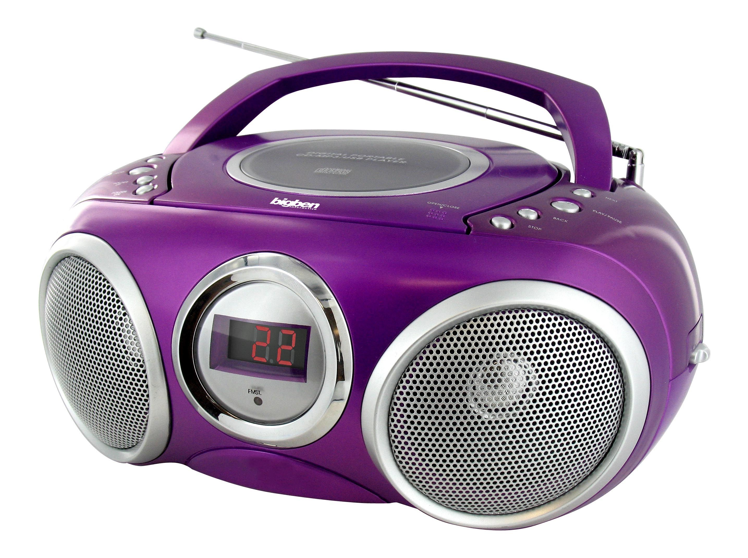 Purple Boombox Cd32 Carry Your Music And Play It On