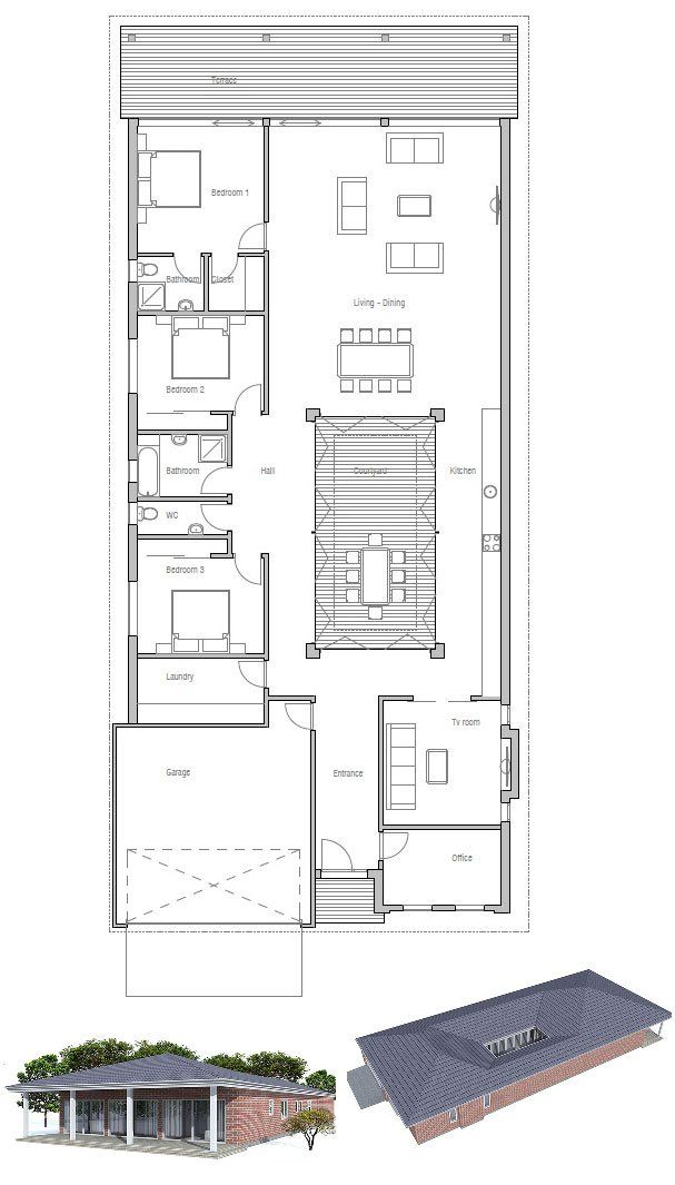 Modern House Plan with private courtyard. Full wall height ...