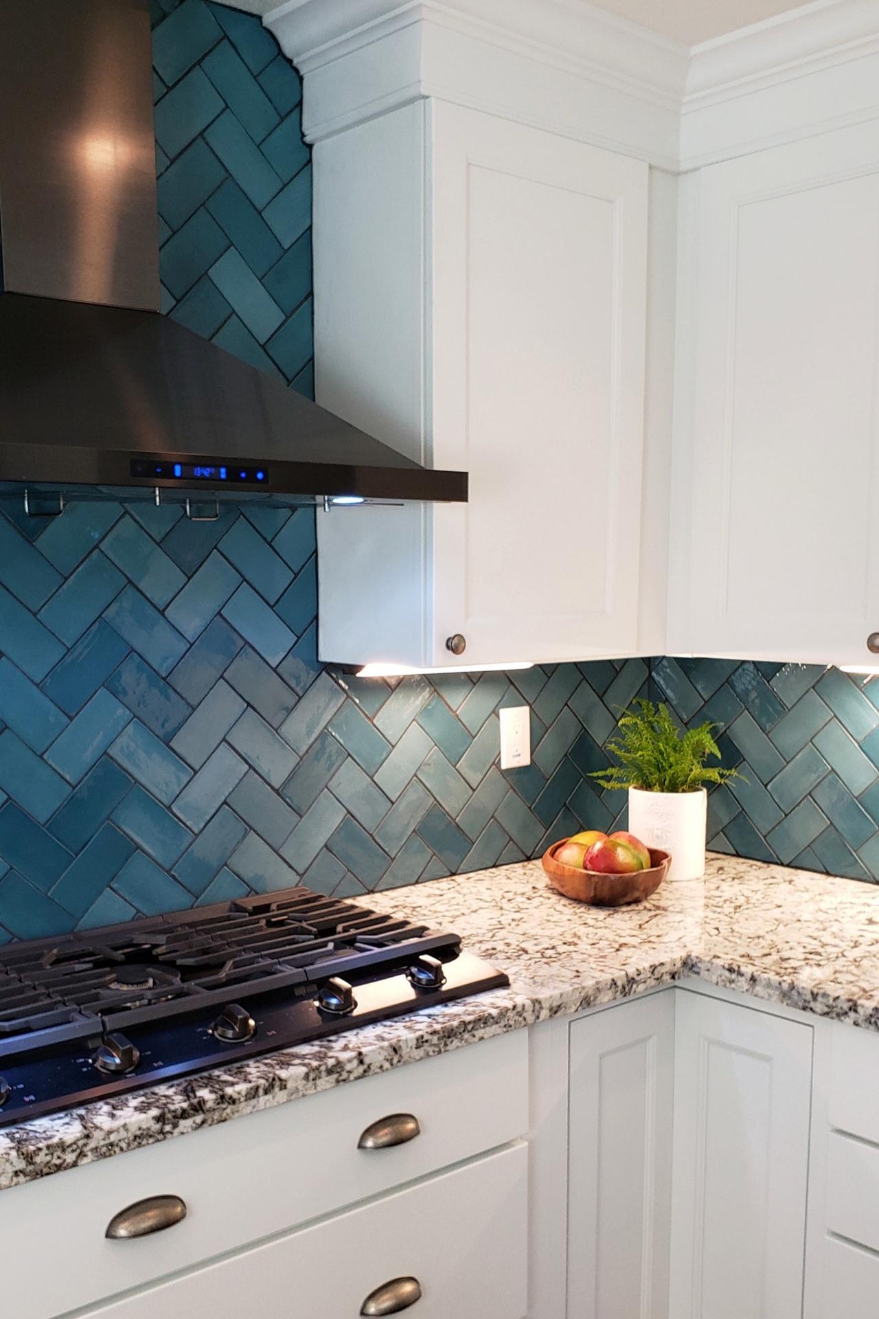 Bold Blue Herringbone Pattern Backsplash Sacramento S Only Luxury Tile Store Rustic Kitchen Kitchen Remodel Backsplash Kitchen White Cabinets