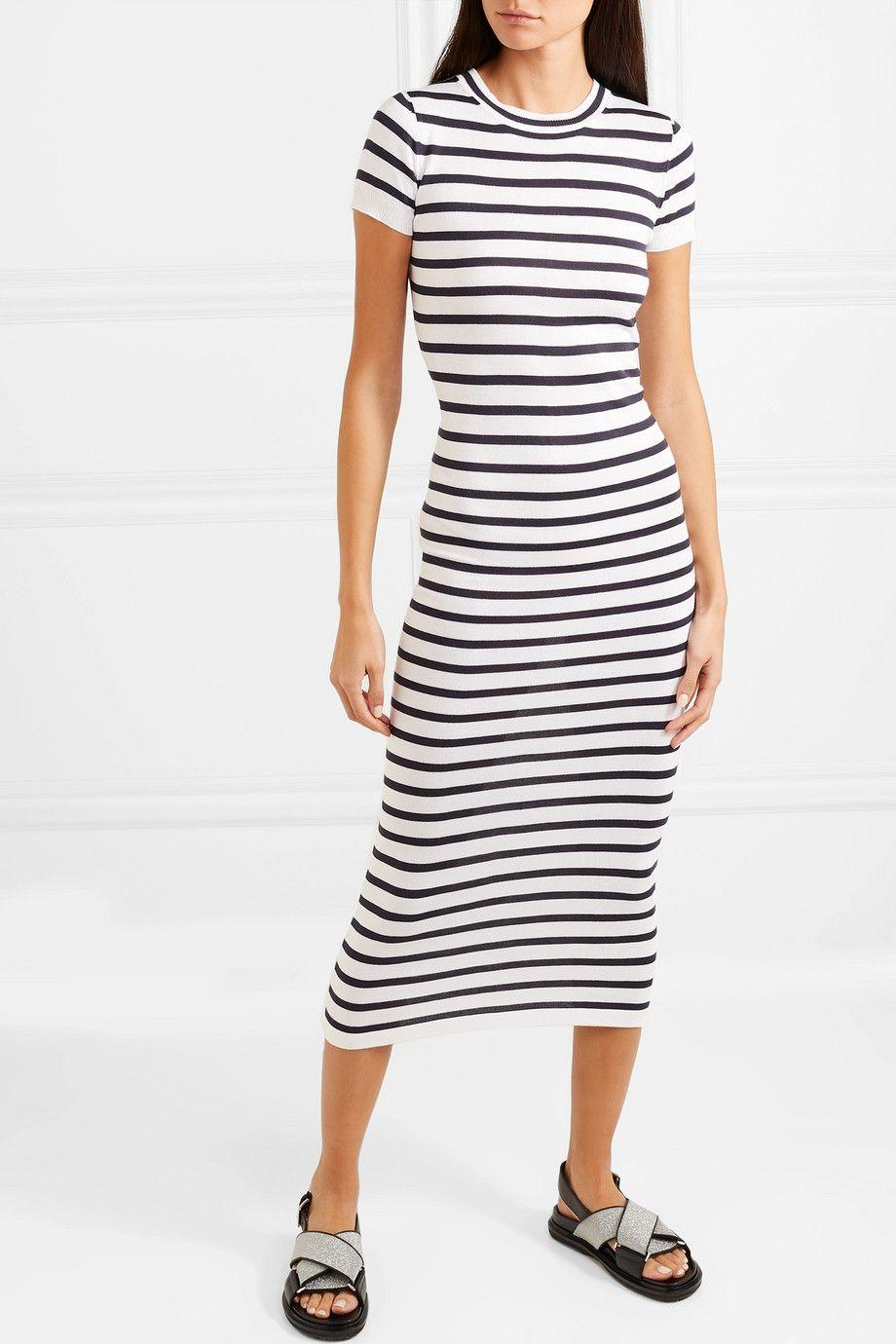 Paco Rabanne Striped Jersey Midi Dress Net A Porter Com Striped Jersey Short Sleeve Dresses Dresses [ 1380 x 920 Pixel ]