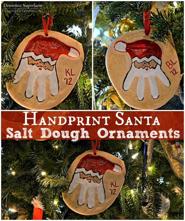Handprint Santa Salt Dough Ornaments are super quick and easy to make with the kids!