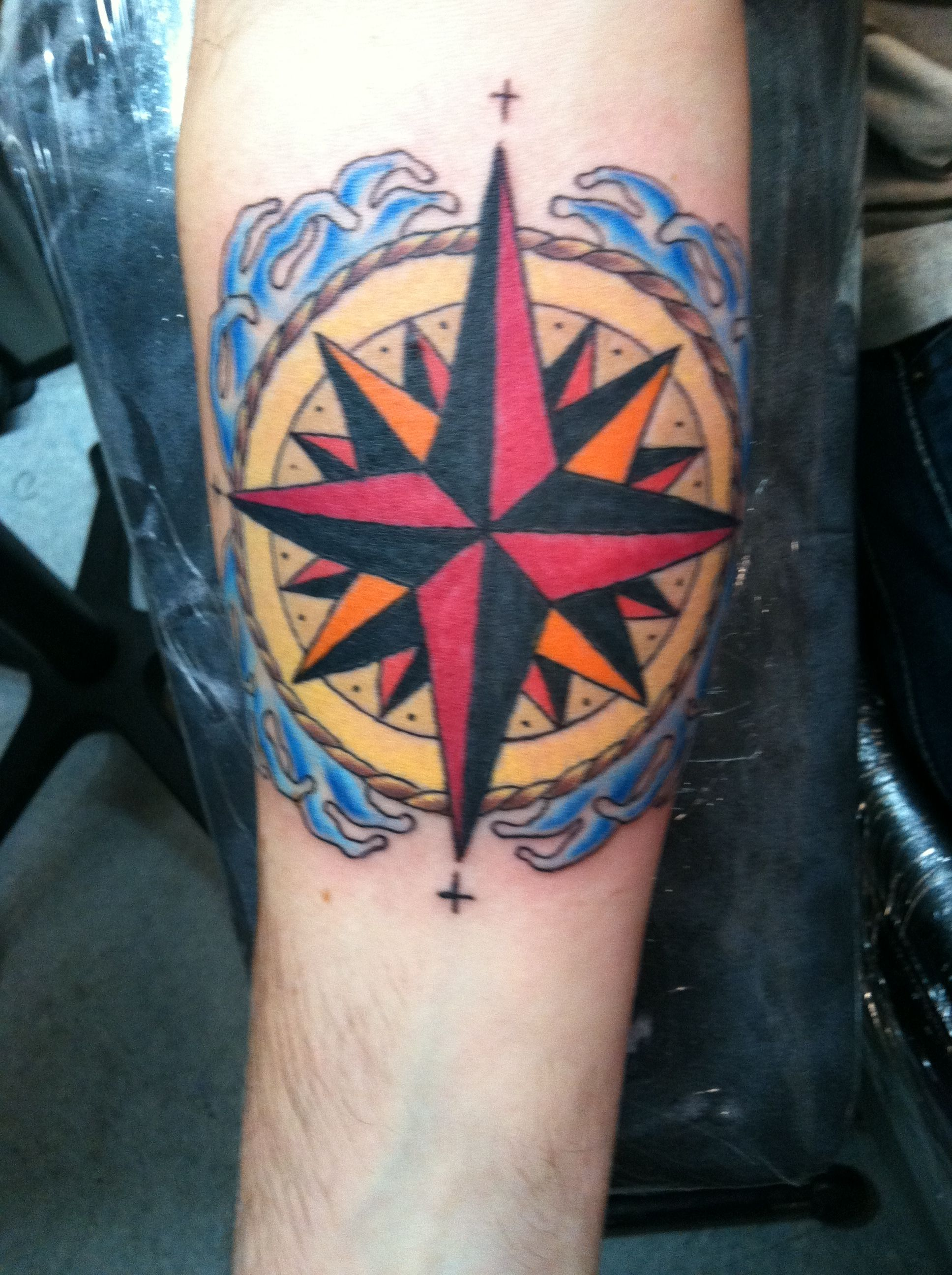 Compass Rose With Crosses At The Four Cardinal Directions