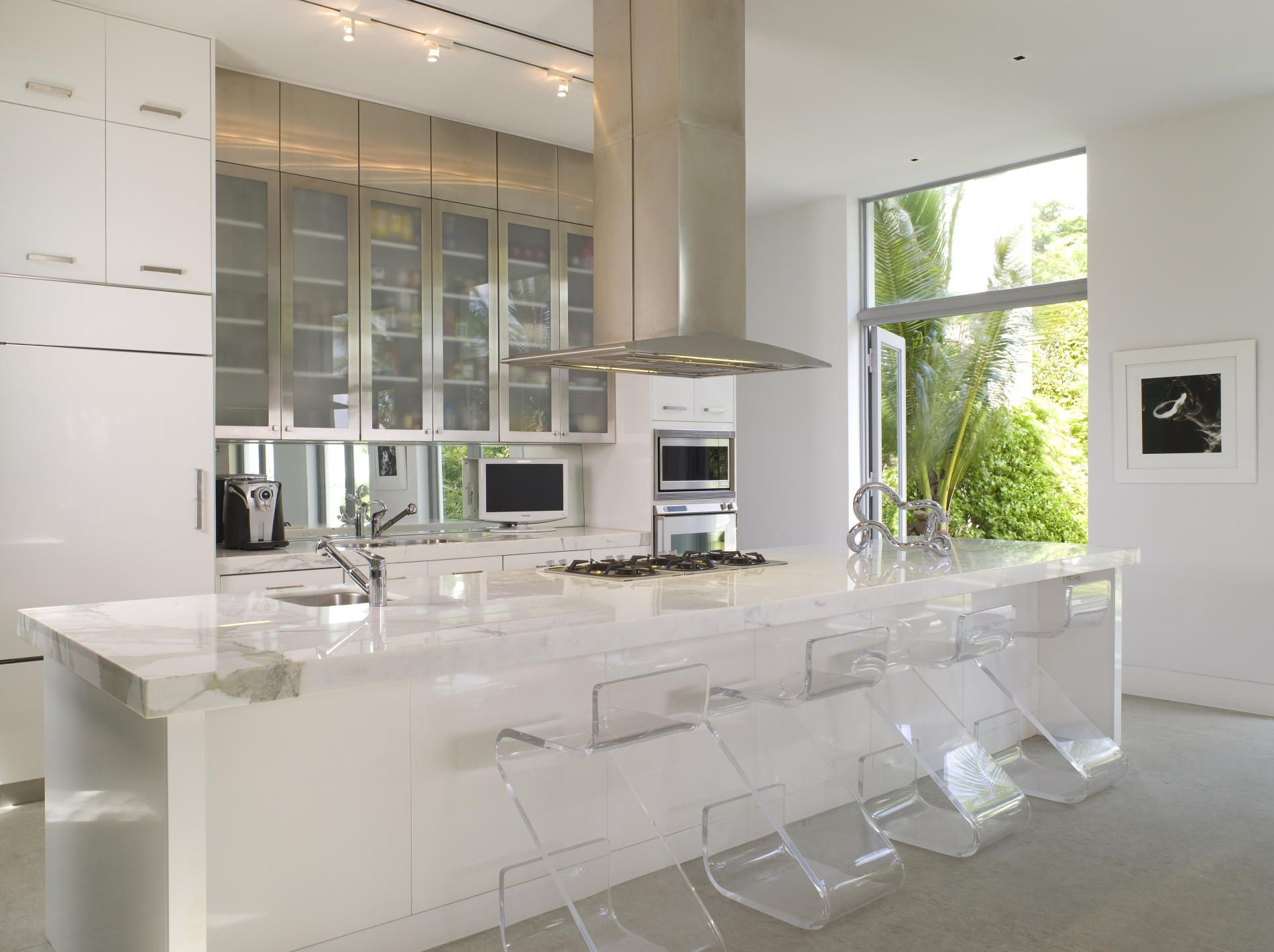 Awesome White Swedish Kitchen Design Ideas With Modern Island Ideas With Clear Glass Seat Scandinavian Kitchen Design White Modern Kitchen Contemporary Kitchen