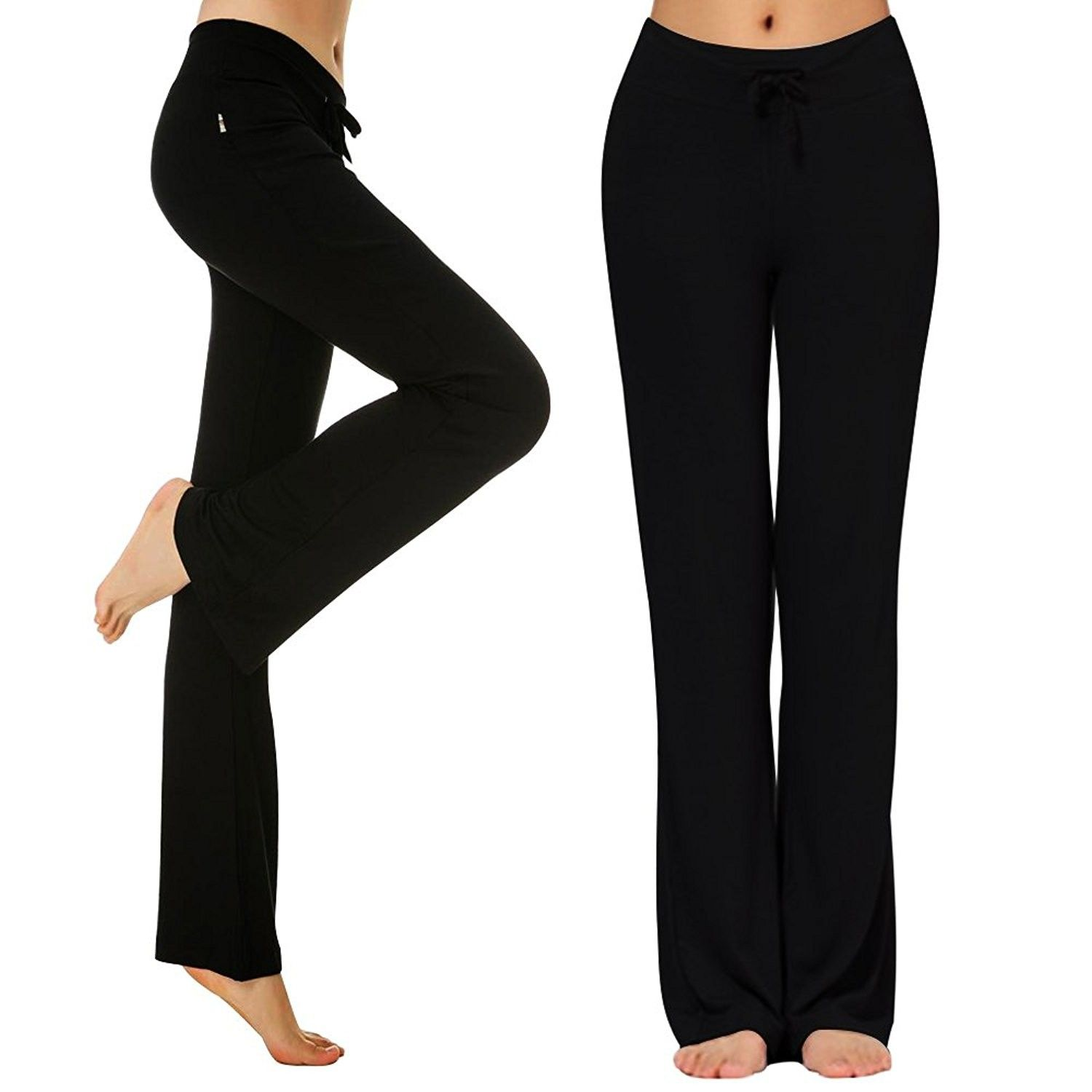 Womens High Waist Wide Leg Pants Loose Leggings Trousers Lace Stretch Wide Leg Yoga Through