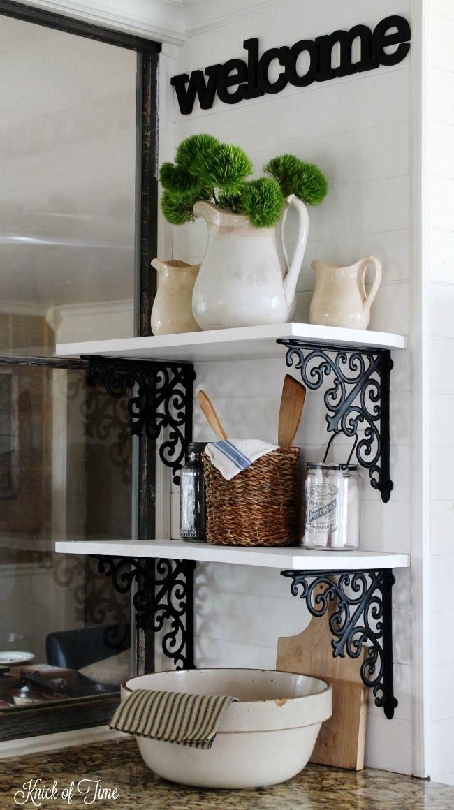 Farmhouse White Kitchen Wall Storage Shelves  Kitchen Wall Adorable Kitchen Wall Storage Review