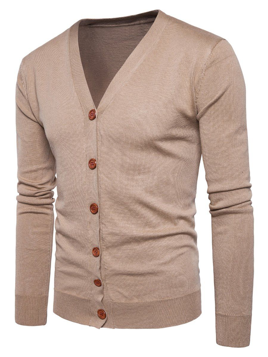 Neck Knitting Button Up Cardigan