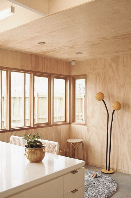 GORDON GROVE HOUSE, Melbourne   Murray Barker And Sarah Trotter (Hearth)  2008. Plywood Walls And Ceiling, Polished Concrete Floor, Casement Windows.