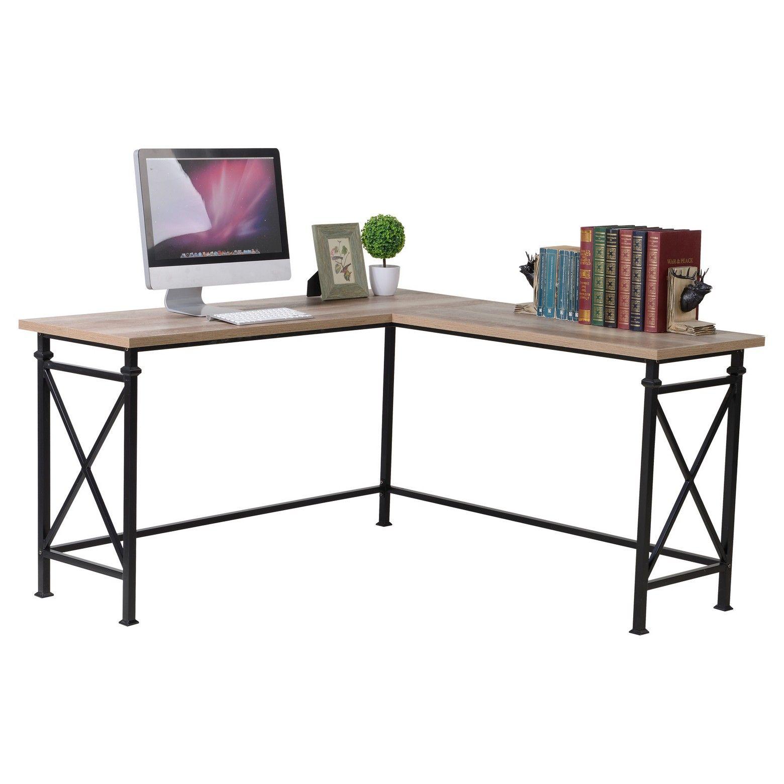table with idea industrial steel legs desk metal lovely