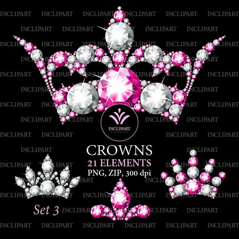 Diamond Crown Clipart Png Format Pink And White Diamond Rhinestone Crown Clip Art Ladies Party Clipart Instant Download Business Use In 2021 Clip Art Crown Clip Art Digital Clip Art