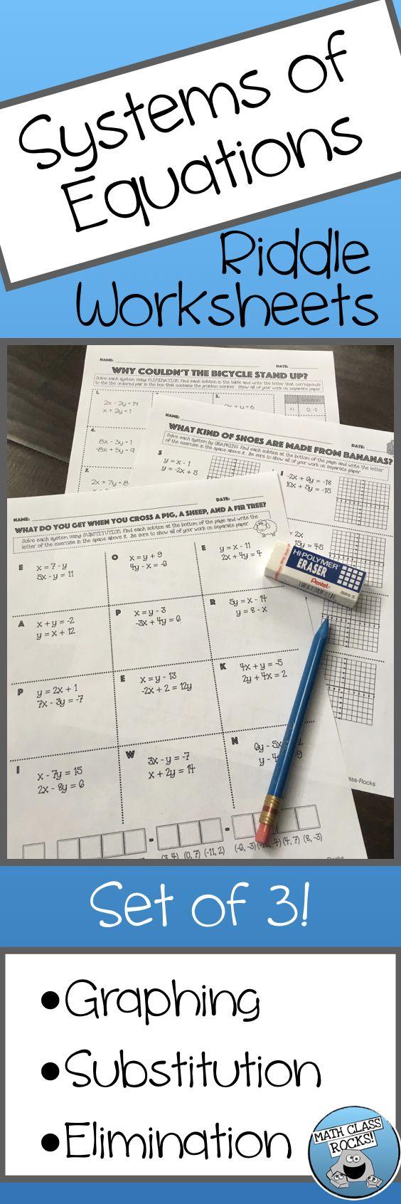 Solve systems riddle worksheets set of 3 Math riddles