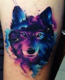 A Real Watercolor Tattoo Perfect Colors For My Upcoming Mandala Ink Wolf Tattoos Watercolor Wolf Tattoo Watercolor Wolf