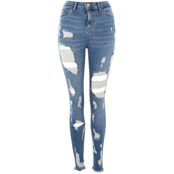 TopShop Moto Blue Ladder Super Rip Jamie Jeans ($80) ❤ liked on Polyvore featuring jeans, blue, ripped skinny jeans, ripped jeans, high waisted jeans, high rise skinny jeans and high-waisted skinny jeans