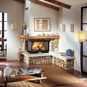 Corner fireplace village two sided stone decor house 2 sided fireplace ideas
