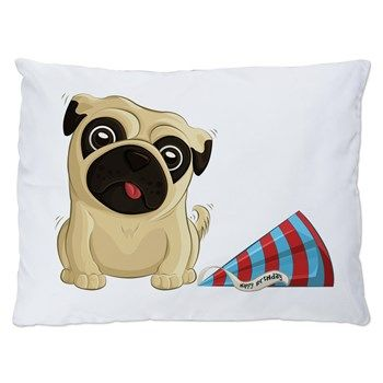 Birthday Pug Dog Bed from cafepress store: AG Painted Brush T-Shirts. #dog #pug #birthday