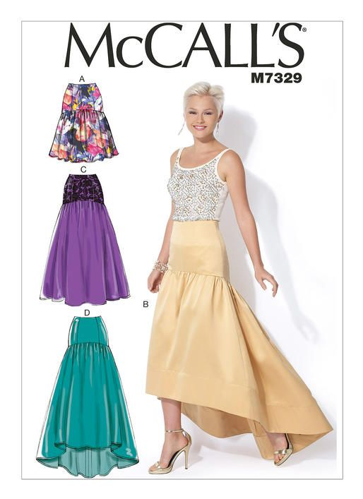 bc10fb856 M7329 | McCall's Patterns. Drop waist skirt with high-low hem | MY ...