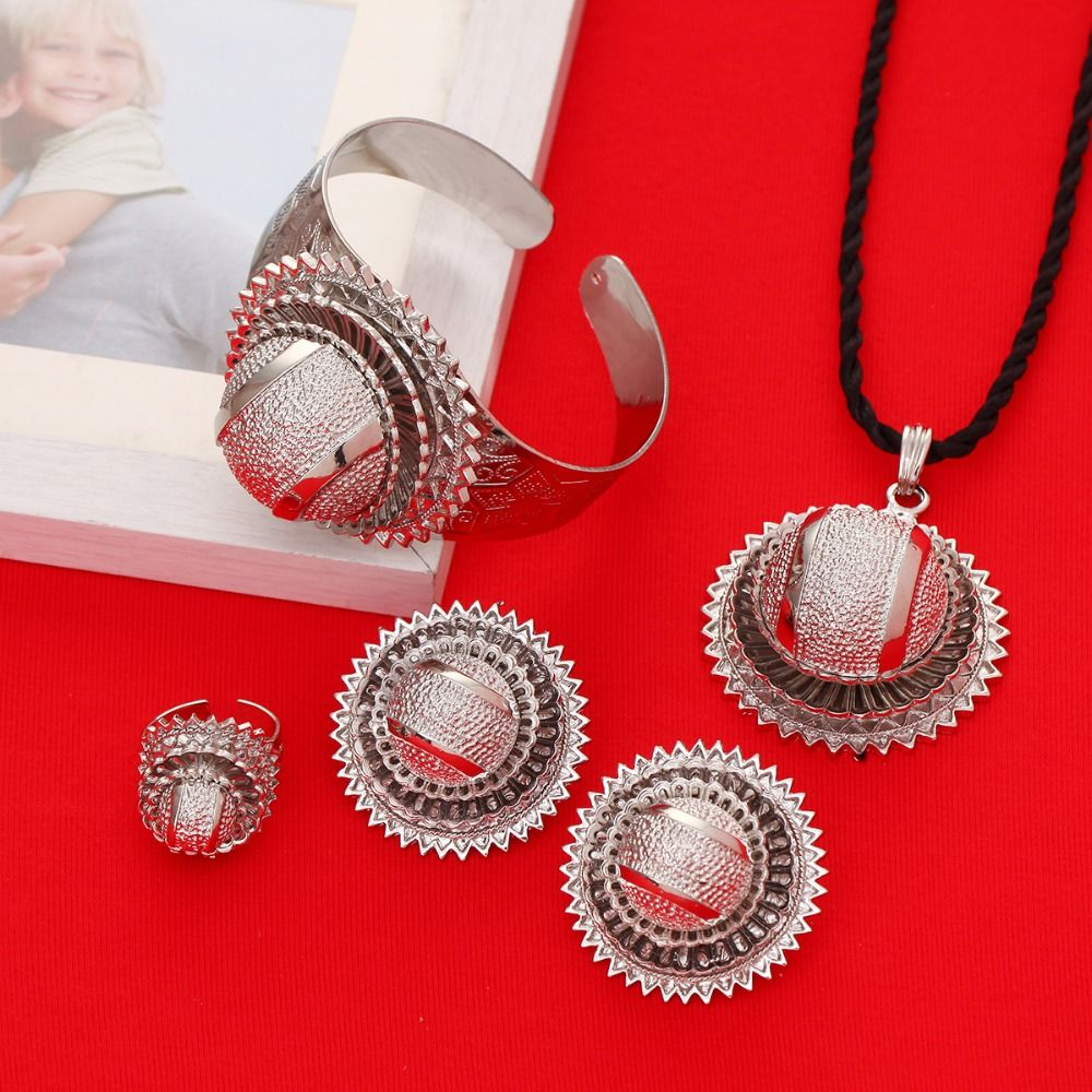 Silver Ethiopian Jewelry Sets Stone Silver Plated Habesha Bride