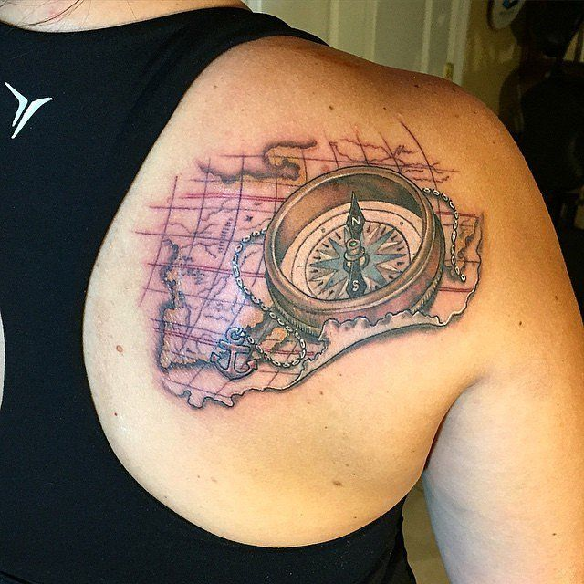 Old World Map Back Tattoo. Pin for Later  These 61 Map Tattoos Will Give You Major Wanderlust Nautical Compass and Anchor tattoos Tattoo Tatoo