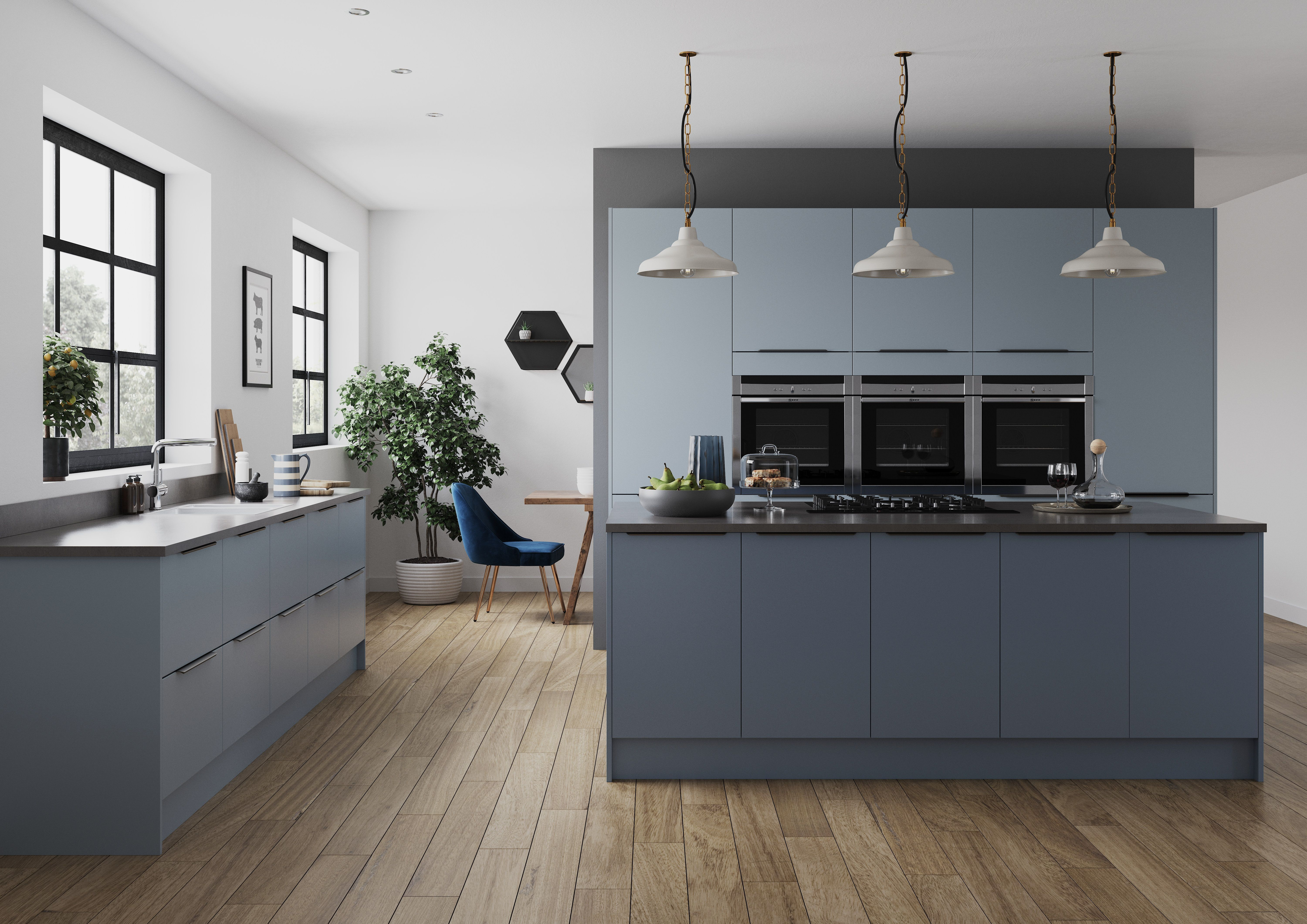 Smoke Blue Denim Blue Kitchen Interior Contemporary Kitchen Paint Kitchen Decor