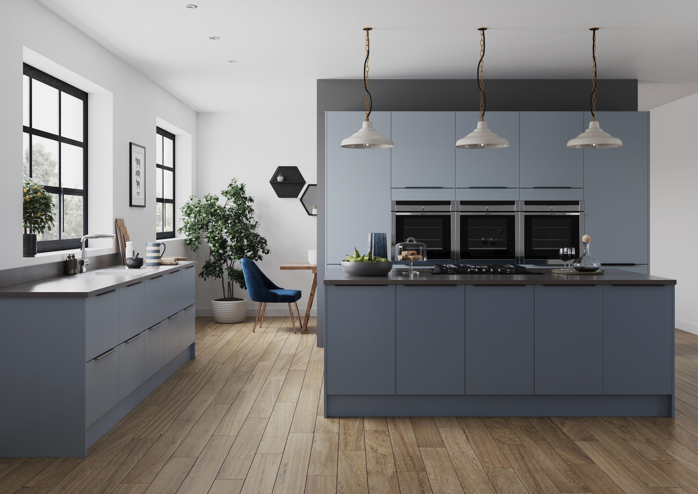 Smoke Blue & Denim Blue Kitchen interior, Kitchen decor