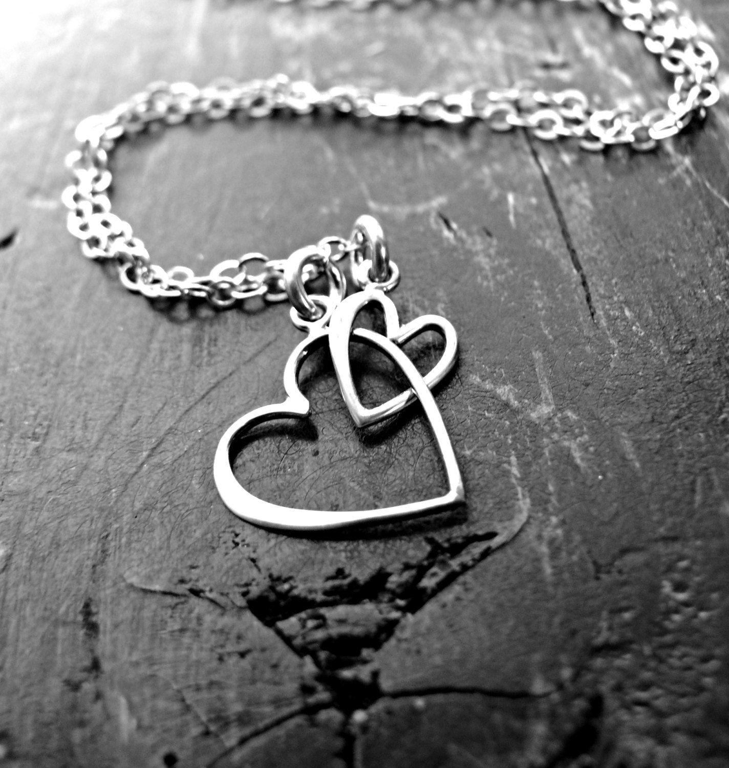 Sterling Silver Joined Hearts Necklace - Mother Daughter Necklace ...