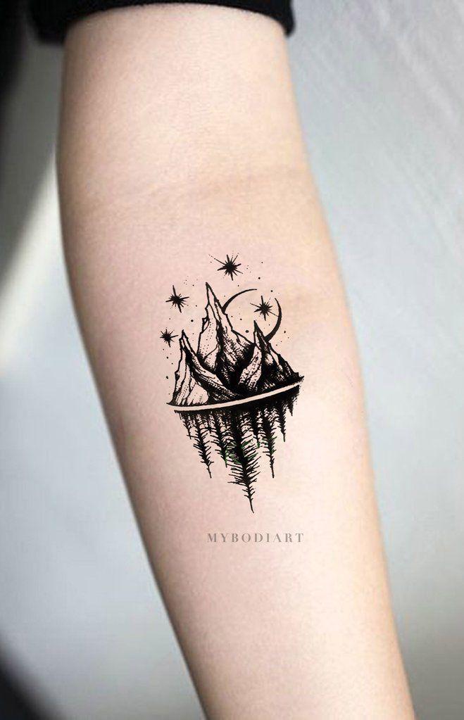 Acaia Small Black And White Nature Mountain Trees Stars Temporary Tattoos Simplistic Tattoos Forearm Tattoo Tattoos For Guys