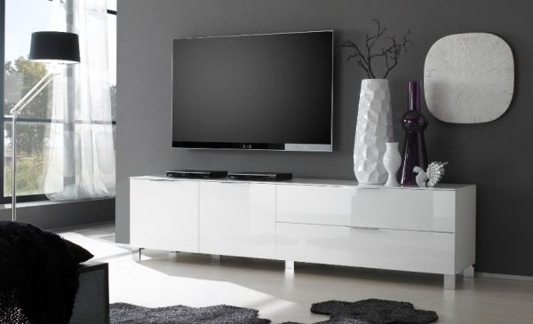 Contemporary Media Cabinet Solaris In White Gloss Finish 210 Cm Wide Bedroom Tv Stand Small Tv Stand White Gloss Tv Unit